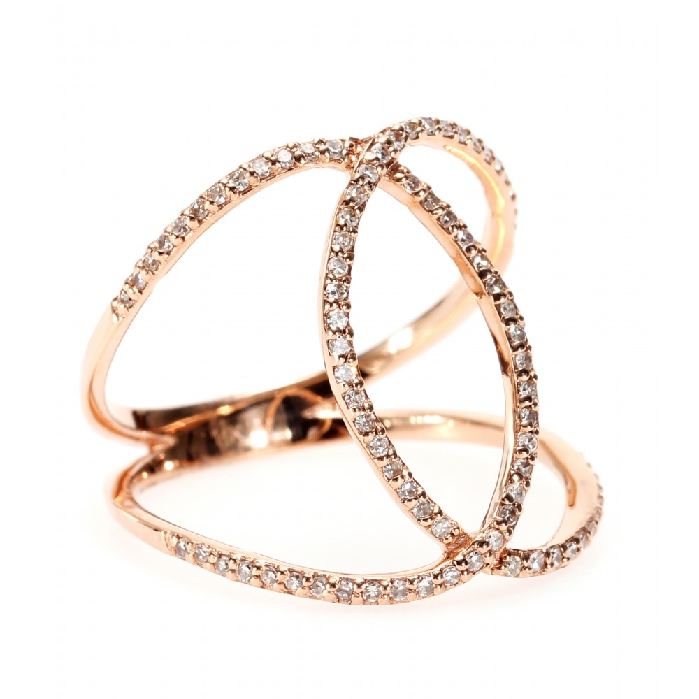 Jacquie Aiche, 14KT ROSE GOLD PAVE WHITE DIAMOND OVERLAP CIRCLE ETERNITY RING, 2859 euro