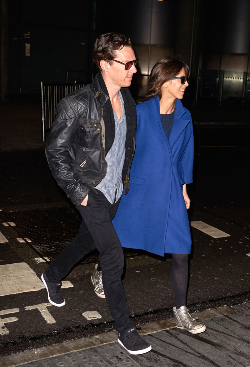 Benedict Cumberbatch and Sophie Hunter arrive from LA at Heathrow airport, London, Britain - 13 Jan 2015
