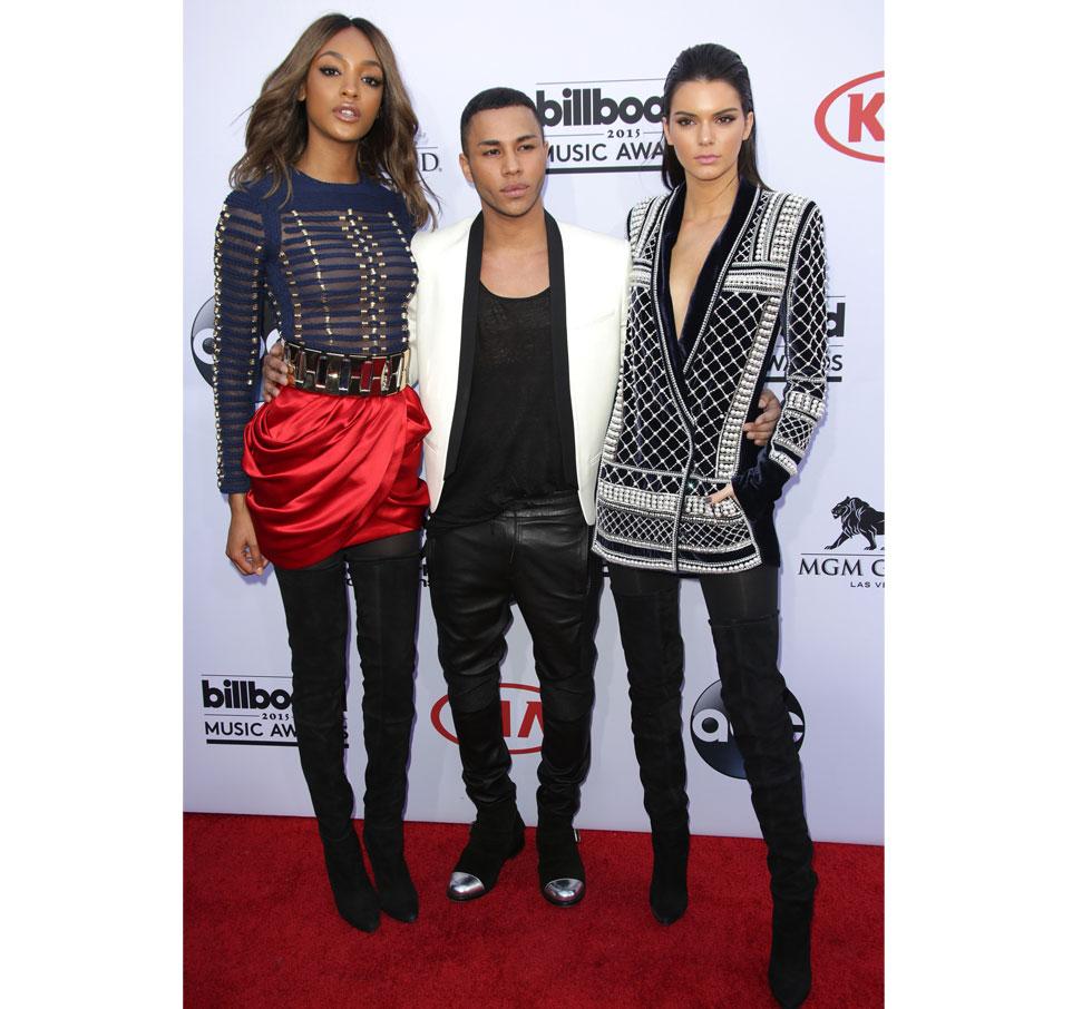 Jourdan Dunn, Kendall Jenner och Balmains chefsdesigner Olivier Rousteing.