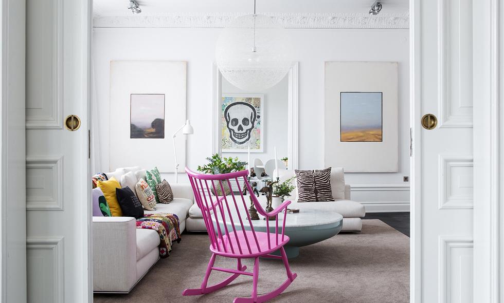 Sno stilen av det här vackra vardagsrummet