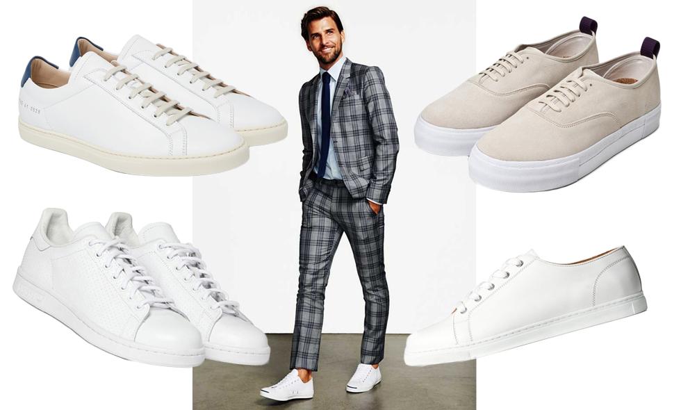 Snygga vita sneakers för män Metro Mode
