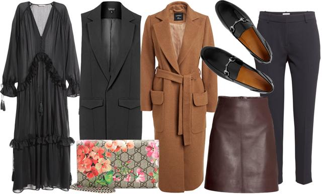 I butik: långa ullrockar och lackerade accessoarer
