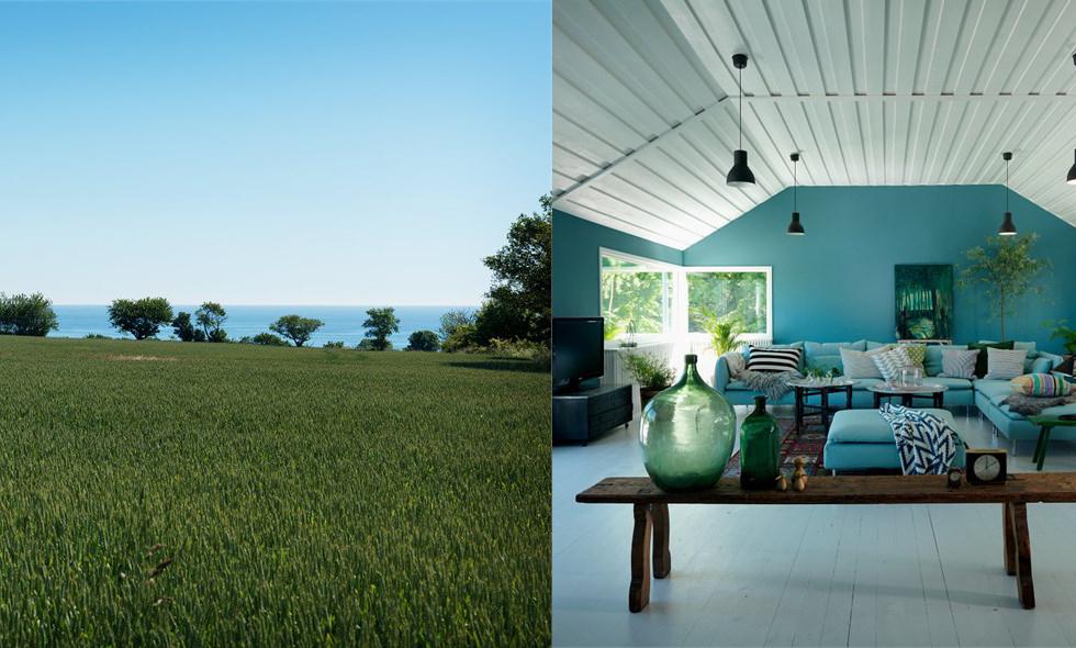 Charmig pärla med egen boulebana, pool och havsutsikt över Österlen