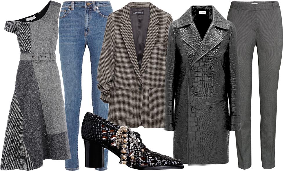 I butik – gråmelerad ull och högblankt svart