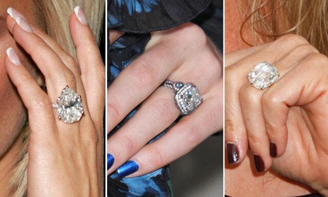 10 kändisar med gigantiska förlovningsringar