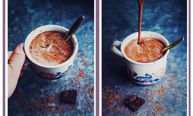 Krämig varm choklad med cashewnötsmör