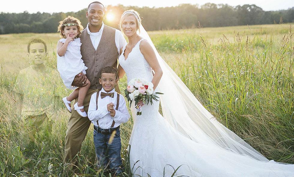 kvinna-retucherade-in-sin-döde-son-i-bröllopsfotot