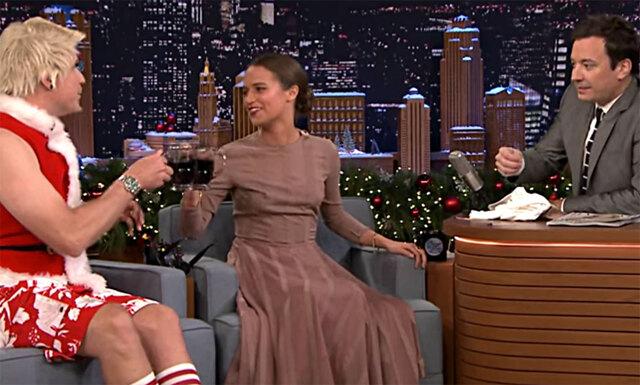 """Här gaddar Alicia Vikander och Will Ferrell ihop sig mot  Jimmy Fallon : """"Jimmy är en idiot"""""""