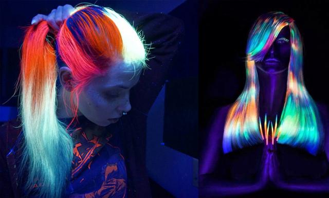 Galna självlysande hårtrenden som sprider sig som en löpeld