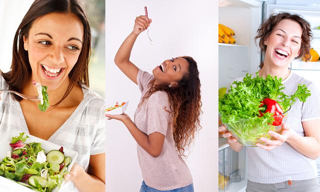 Bilder på kvinnor som äter sallad och skrattar - ett oförklarligt men vanligt fenomen