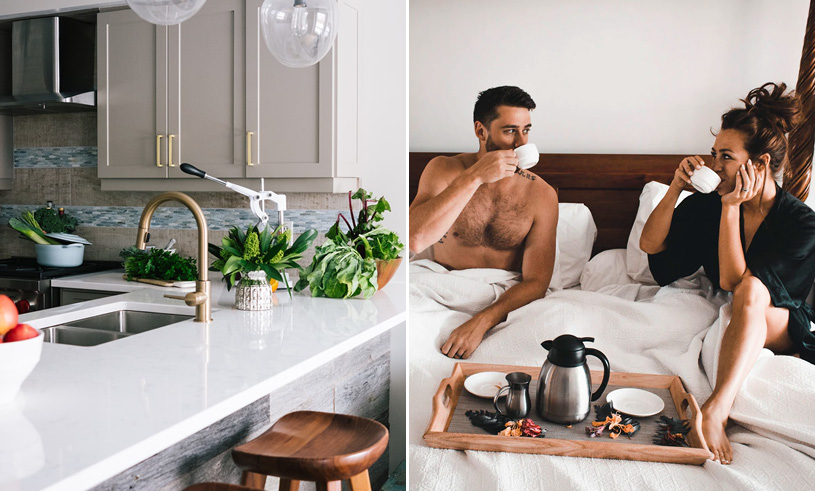 Kitchen design and couple eating breakfast in bed
