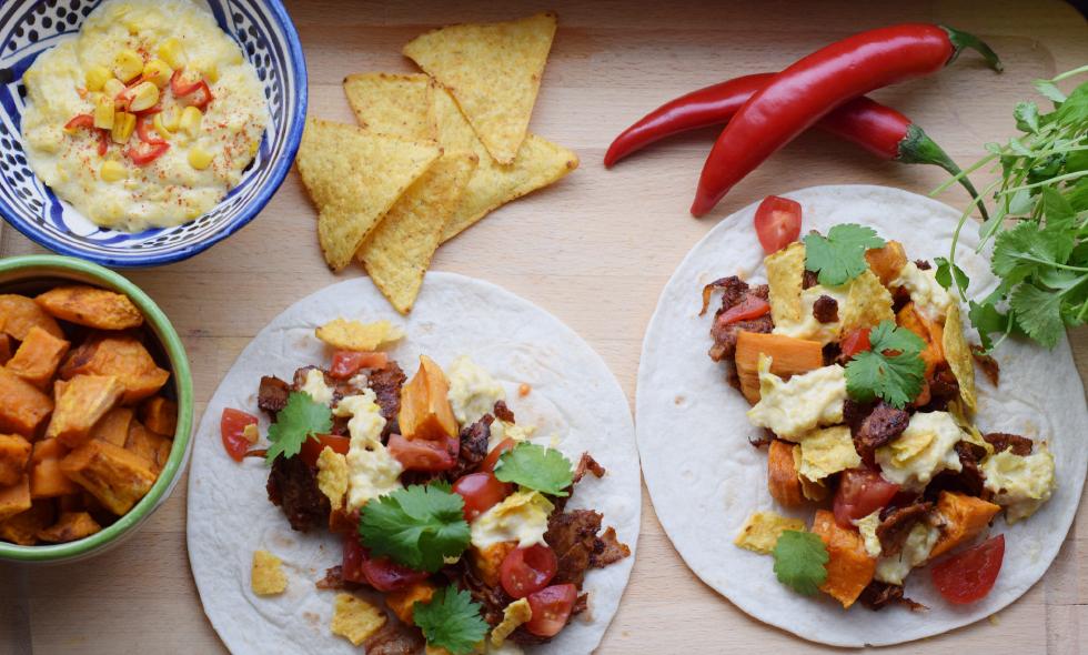 Pulled oumph-tacos med vegansk creamed corn