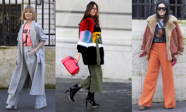 Trendiga kostymbyxor dominerar under Paris Fashion Week