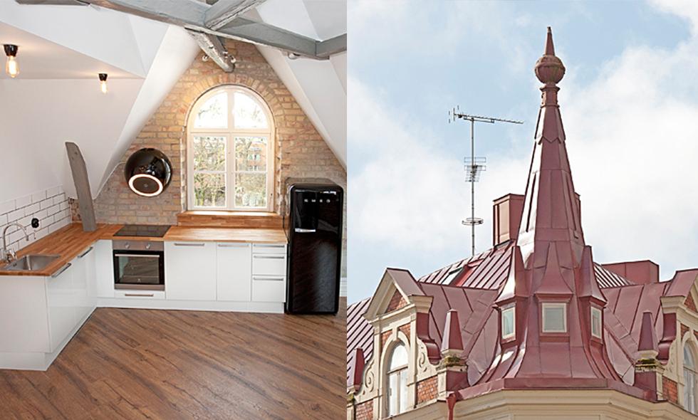 Lunds finaste lägenhet till salu – tvåa med tornrum och 5 meter i takhöjd