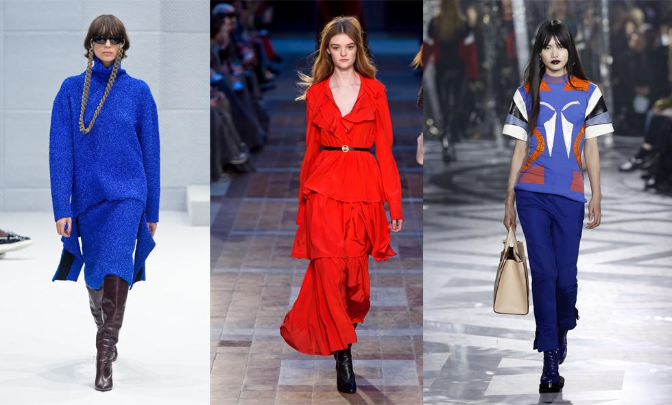 Trendspaning från Paris Fashion Week 2016 – Blått och rött blir hösten färger