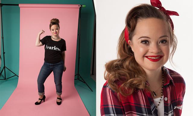 Modell med Downs syndrom frontar för första gången en skönhetskampanj