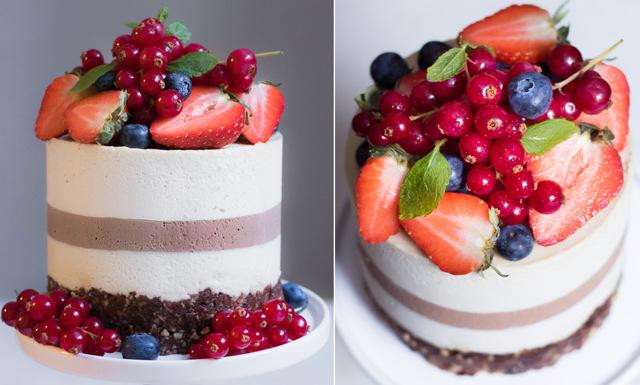 Nyttig midsommartårta med choklad, vanilj och bär