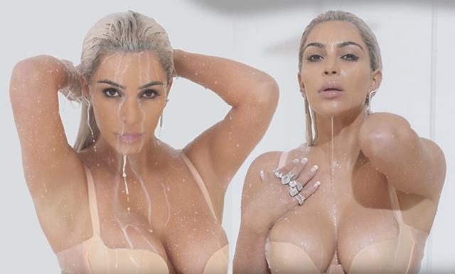 Här duschar Kim Kardashian i mjölk – videon alla pratar om