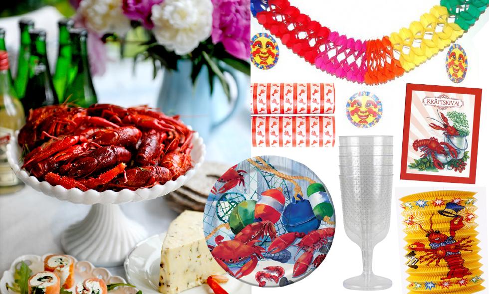 Tillbehören och dekorationerna du behöver för en lyckad och rolig kräftskiva