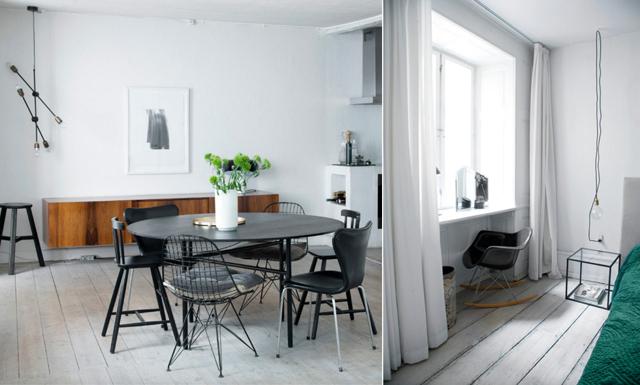 Stilren skandinavisk dröm i en 300 år gammal lägenhet
