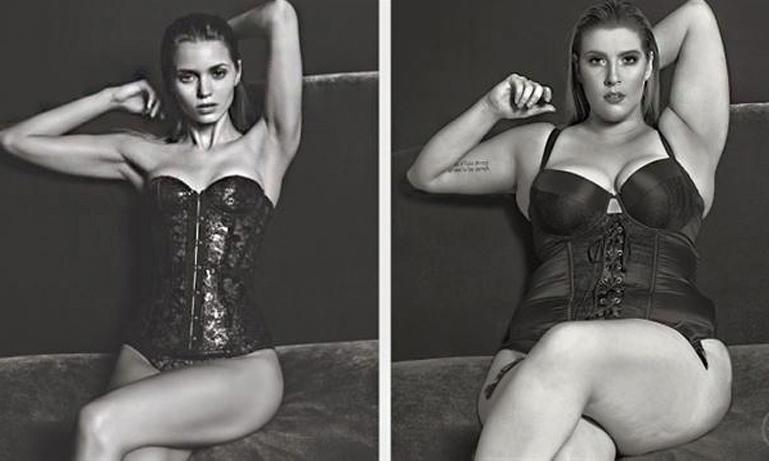 """Kurviga kvinnor """"gör om"""" kända kampanjer genom att byta ut modellen mot sig själva"""