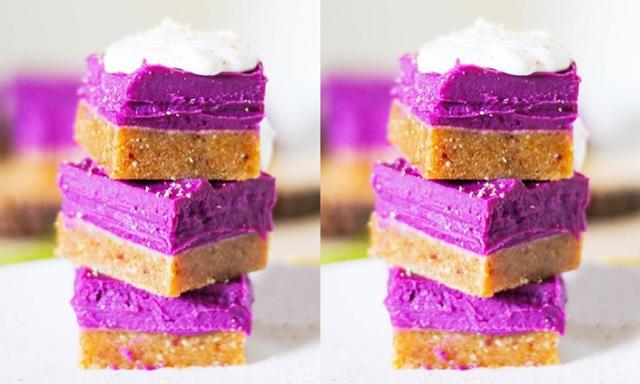 Enkla och nyttiga raw food-rutor med lila (!) sötpotatis