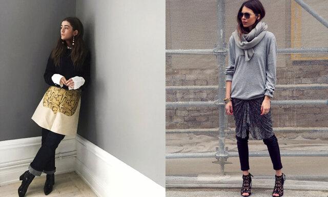 Senaste modetrenden: Kjol över byxor