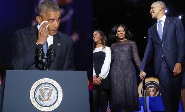 Se Barack Obamas tårfyllda hyllning till sin familj