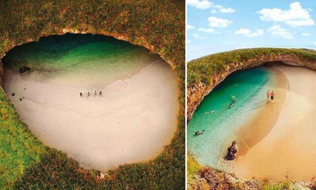 Kolla in den fantastiska stranden – som du måste simma till