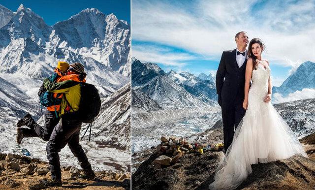 Bilderna som får dig att vilja haka på senaste bröllopstrenden – att gifta sig på Mount Everest