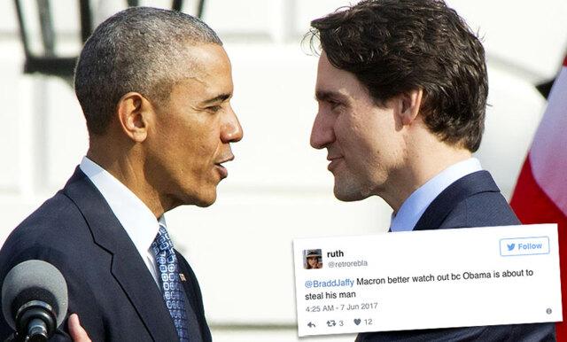 Vi kan inte sluta le åt Barack Obamas och Justin Trudeaus romantiska möte