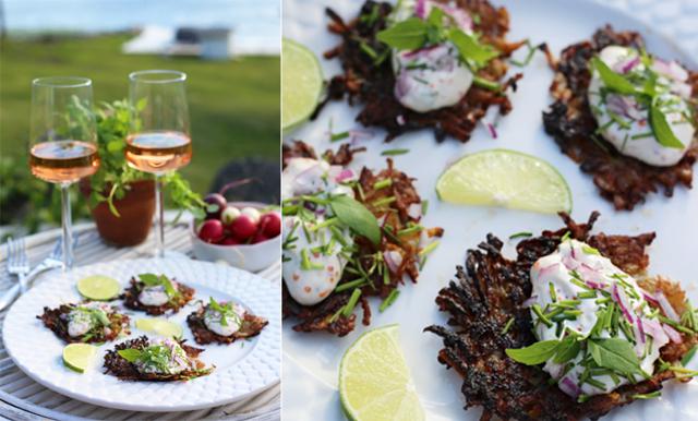 Kicka igång middagen med knapriga röstikakor serverad med syrlig romsås