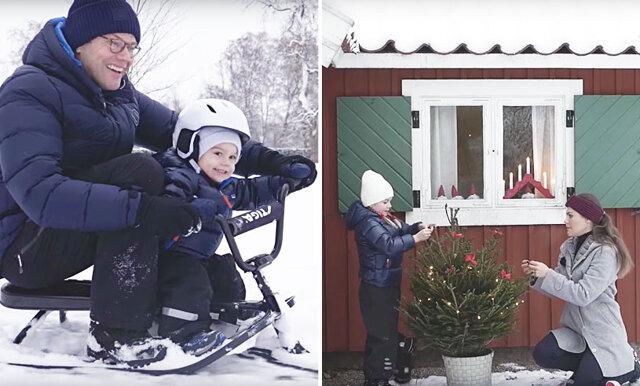 Snöbollskrig och pulkatävling – se årets gulliga julhälsning från prinsessan Estelle och prins Oscar