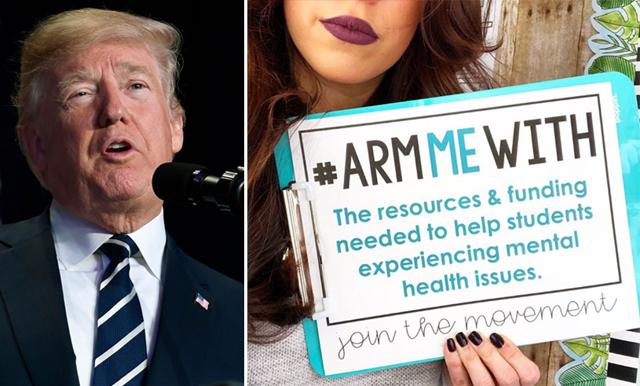 Trump föreslår att lärare ska börja bära vapen – nu säger de högljutt ifrån