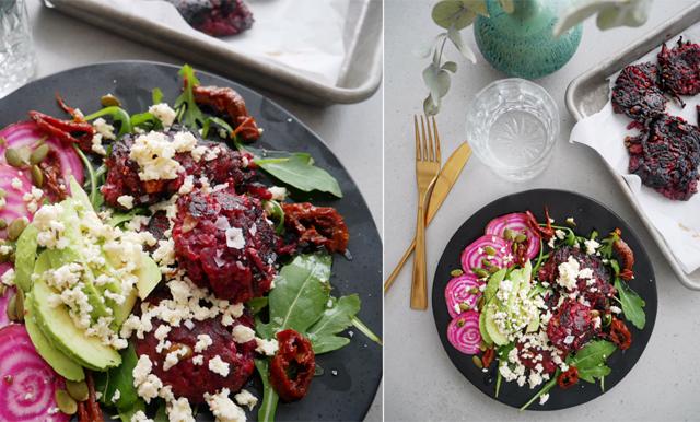 Veckans vegetariska! Enkla, goda och matiga rödbetsbiffar – på några minuter