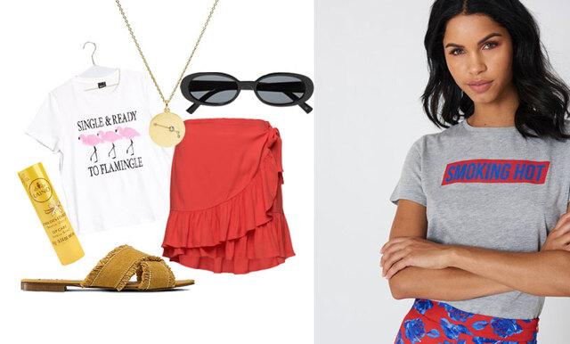 Så stylar du grafiska t-shirts på ett coolt sätt – inspireras av 3 outfits