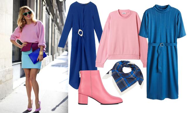 Höstens hetaste färgkombination är rosa och blå – plagg i butik
