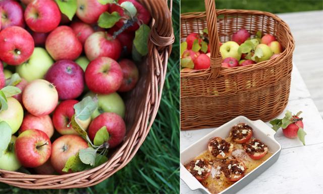 Ugnsbakade äpplen med söt nötcrumble med kanel och kardemumma