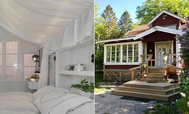 Supercharmig trävilla från 1800-talet – med ett drömlikt sovrum vi gärna hade vaknat upp i!