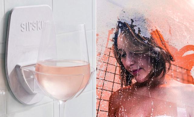 Duscha och drick vin – här är vinglashållaren!