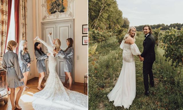 Nu visar Petra Tungården upp den bohemiska bröllopsklänningen – vi säger bara WOW!