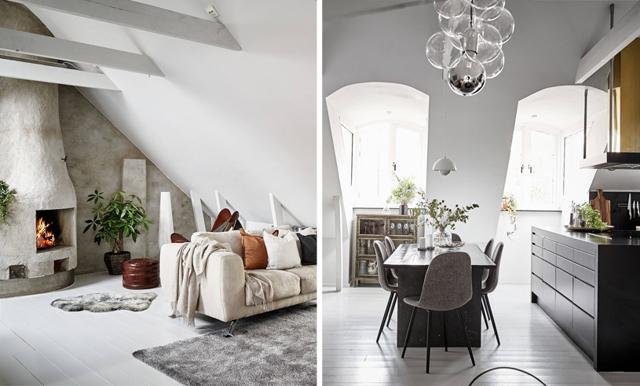 Svindlande höjder och rustika detaljer i vindsvåningen i Göteborg