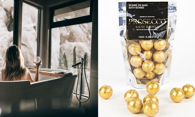 Bada i guldglitter? Här kan du köpa prosecco-badbomber!