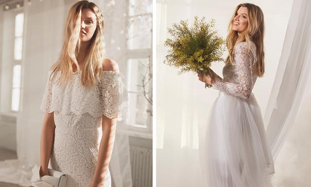 Romantisk spets och pärlor – nu lanserar Ellos brudklänningar