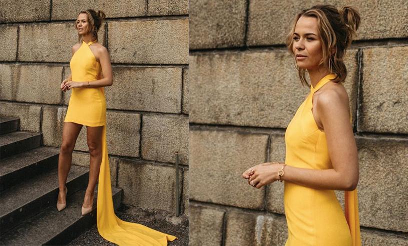 Guldklänning och glitterskor | Margaux Dietz