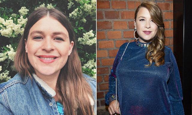 Hyllad magbild – Linnea Henriksson visar upp magen efter förlossningen