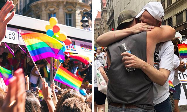 """Howie delade ut gratis """"pappakramar"""" under Pride – hans berättelse lämnar ingen oberörd"""
