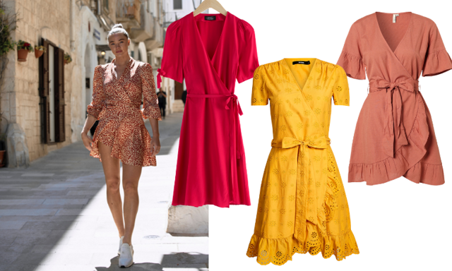Luftiga favoriter! 12 färgglada och mönstrade omlottklänningar med ärm