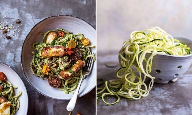 Fyll på med grön energi – enkel zucchinipasta med halloumi