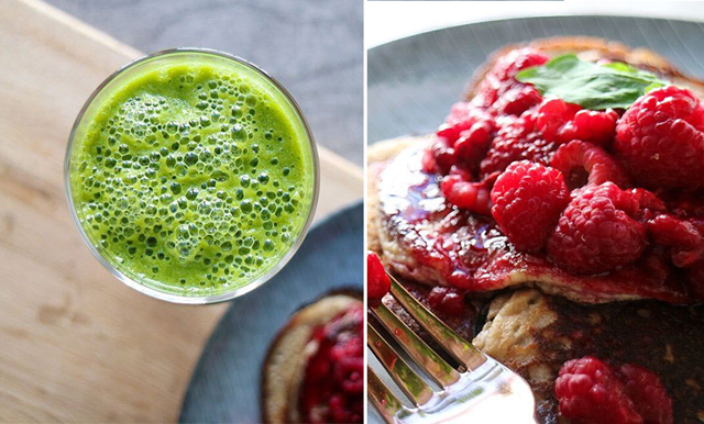 Bästa hälsofrukosten! Fluffiga bananpannkakor med grön smoothie